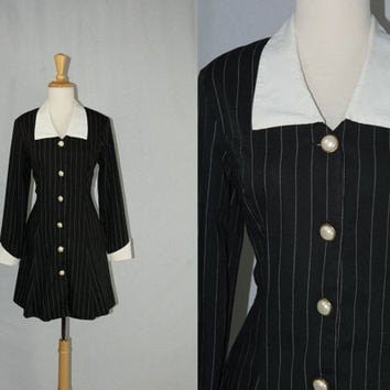 Vintage Wednesday Babydoll Dress Black & White Collar Pinstripe Suit Dress