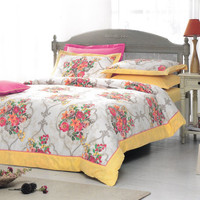 Floral Damask Bedding Set in Yellow, Pink, Coral Red, Orange, Beige for King or Cal King – Set of Duvet Cover, Sheet, Shams & Pillow Cases