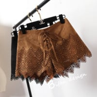 Retro Bohemian tied rope suede leather shorts
