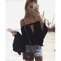 Off Shoulder Bell Sleeve Top - Black