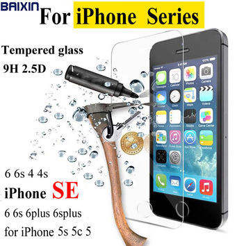 0.26mm 2.5D Premium Screen Protector film for iPhone 4 4S 5 5s SE 6 6s plus Tempered Glass for iphone SE case cover+ Clean kits