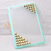 High-quatily Frosted soft edge protector / protective case for ipad MINI with gold studs / rivets