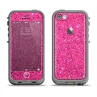 The Pink Sparkly Glitter Ultra Metallic Apple iPhone 5c LifeProof Fre Case Skin Set