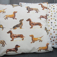 Two Daxon Dog  Pillow Covers Cushion Covers 16 x 16 inch Oatmeal and brown backed with spotty fabric.