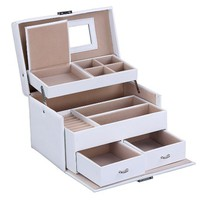 Songmics Lockable White Leather Jewelry Box, Storage Travel Case with Mirror and Drawers UJBC122W