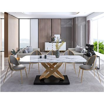 Criscross Leaf Style Golden Finish Marble Dining Table Set