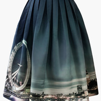 Night Skyline of London Print Midi Skirt Black
