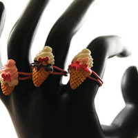 3 Types of Ice Cream Cone Rings on Pink Ring Base Fairy Kei / Decora Accessory