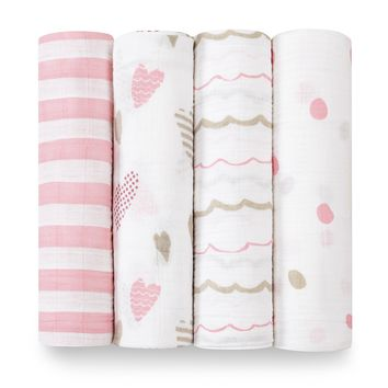 Aden and AnaisInfant Girls' Swaddle, 4 Pack