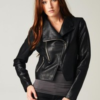 LOVESTITCH Faux Leather Jacket with Zippers