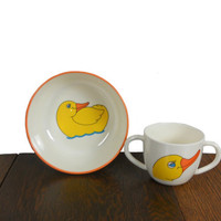 Vintage Children's Dishes Melamine Bowl and Mug White with Orange Trim and Yellow Duck Print - Dish Set by Just Friends