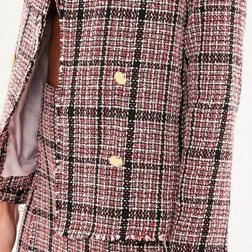 Missguided - Red Boucle Checked Military Jacket