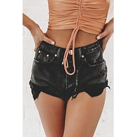 Roll With It Black Denim Distressed Shorts