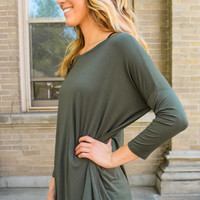 Anytime 3/4 Sleeve Top Olive