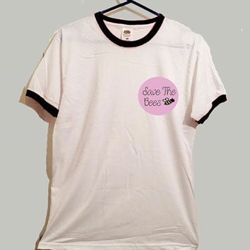 Save the bees ringer tshirt cute nature