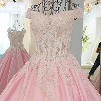 LS24701 formal dress for wedding pink off the shoulder appliques lace corset back satin ball gown robe soiree longue femme