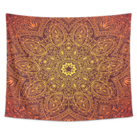 Orange Mandala Tapestry