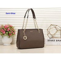 DKNY sells single-shoulder bag in pure color. Shopping bag for fashionable ladies Dark Khaki