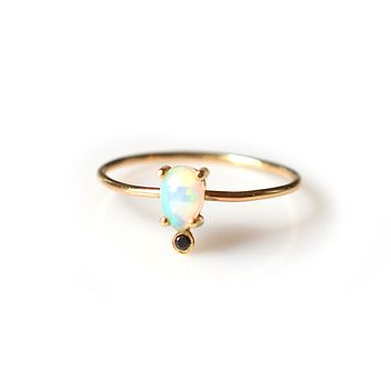 14kt Gold Opal and Black Diamond Pear Ring