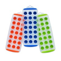 BNYD Easy Push Pop out round Mini Ice Cube Trays with Flexible Silicone Bottom, Pack of 3