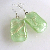Mint Green and Silver Fused Glass Earrings