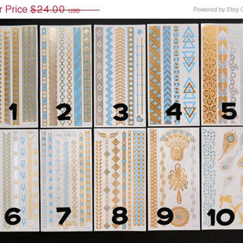 SALE!  Pick Any Three Bundle Pack! - Metallic Gold Silver and Blue Temporary Tattoo - Flash Tattoo - Jewelry - Body Ink Art - Stylish
