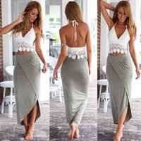 New Ladies Summer Long Maxi Evening Party Dress Beach Dresses Sundress Size 6-20 = 5737820481