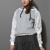 Grey Lace Insert Hoodie Sweater