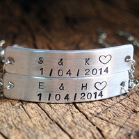 Stamped couples Bracelet, stamped matching bracelet, Personalized stamped bracelet, custom stamped bar bracelet, hand stamped bar bracelet