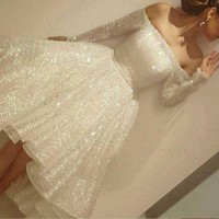 White Off Shoulder Long Sleeves Homecoming Dress