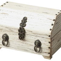 """10"""" Wood Jewelry Box, Antique White, Boxes"""