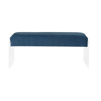 """Bedroom Bench - 17"""" X 46"""" X 19"""" Teal Clear Acrylic Upholstery Bench"""