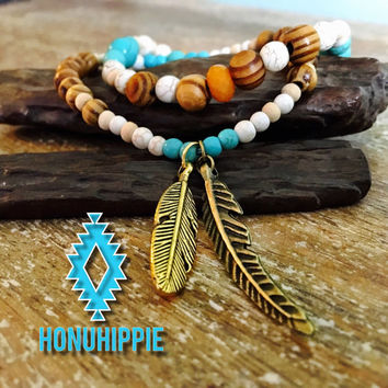 Native american feathers beaded bracelet set, boho hippie turquoise jewelry