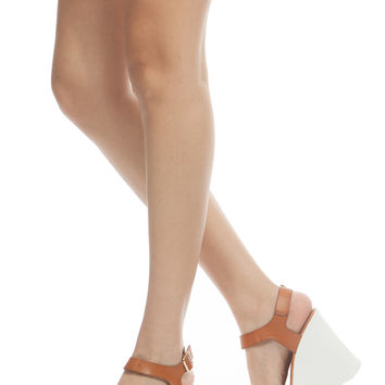 Tan Faux Leather Sling Back Lug Sole Wedges