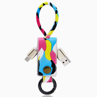 Multicolor Leather Lightning Cable Key Ring for iPhone 6s 6 plus Android + Gift Box 14