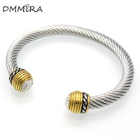Hot sale Fashion Women Vintage Open Silver Gold Bangle Bracelets Twisted Stainless Steel Crystal Clasp Half Circle Cuff Bracelet