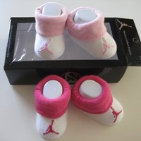 Nike Jordan Booties Girl Boy Baby Infant 3-6 Months with Jumpman23 Sign Pink and White Sock 2 PCS One Set New (001968)