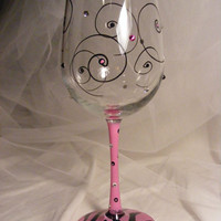Birthday girl wine glass with swirls crystals by DelightfulFinds