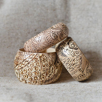 Made to order - Woodburned Ethnic Bracelet - Beige Eco Wooden Bangle - Mehndi Pyrography Wood Jewelry
