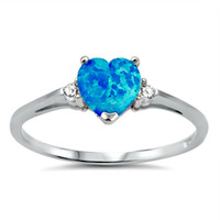 .925 Sterling Silver Blue Opal Heart Kids and Ladies ring size 4-12