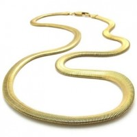 KONOV Stainless Steel Men's Necklace Snake Chain - Gold 6mm 22""