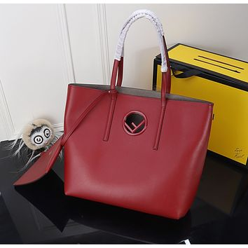 FENDI Women's Red Leather Tote Bag