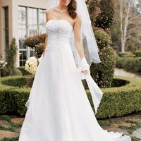 Chiffon A-line Gown with Side Draped Bodice - David's Bridal- mobile