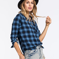 Polly & Esther Plaid Womens Challis Boyfriend Shirt Blue Combo  In Sizes