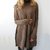 Sexy Turtle Neck Pullovers Women's Long Warm Sweater Slim Tunic Shirt Tops 4 Colors Plus Size LX092