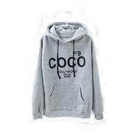 Sell One Like This Keep Warm New Womens Coco Print Hoodie Coat Sweatshirt Tracksuit Tops Outerwear (Grey)