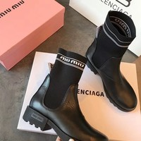 Miu Miu Black Leather Knit Ankle Boots
