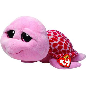 """Pyoopeo Ty Beanie Boos 6"""" 15cm Shellby Pink Turtle Plush Regular Soft Big-eyed Stuffed Animal Collection Doll Toy with Heart Tag"""
