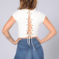 Lace Me Up Top - Ivory
