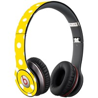 White Polka Dot on Sunshine Decal Skin for Beats Solo HD Headphones by Dr. Dre